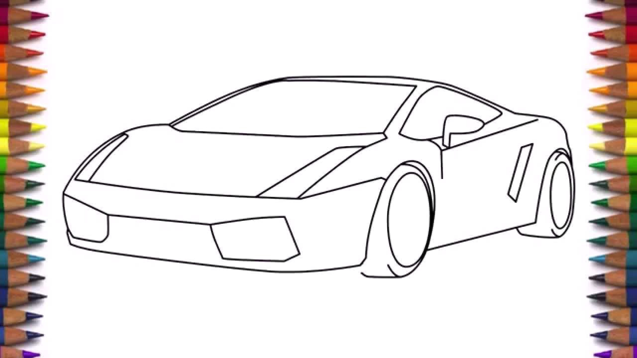 how to draw a car lamborghini gallardo easy step by step for kids and beginners youtube
