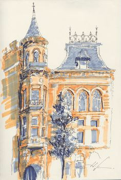 charming wash and line drawing watercolor architecture drawing architecture watercolor landscape watercolor paintings
