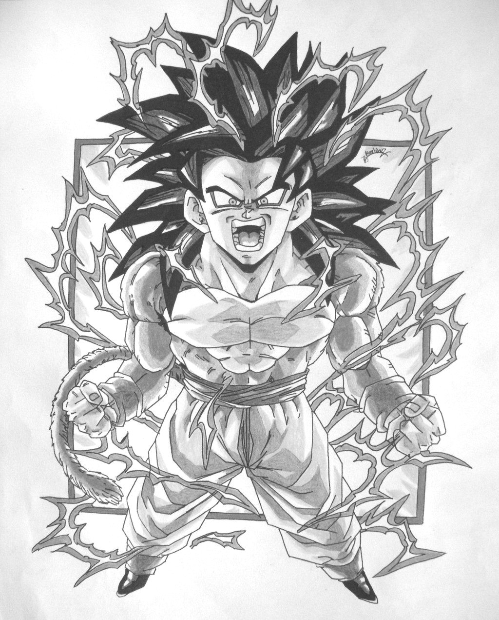 dbz gt character drawings dragonball gt black and white goku ss4 v1 by triigun on deviantart