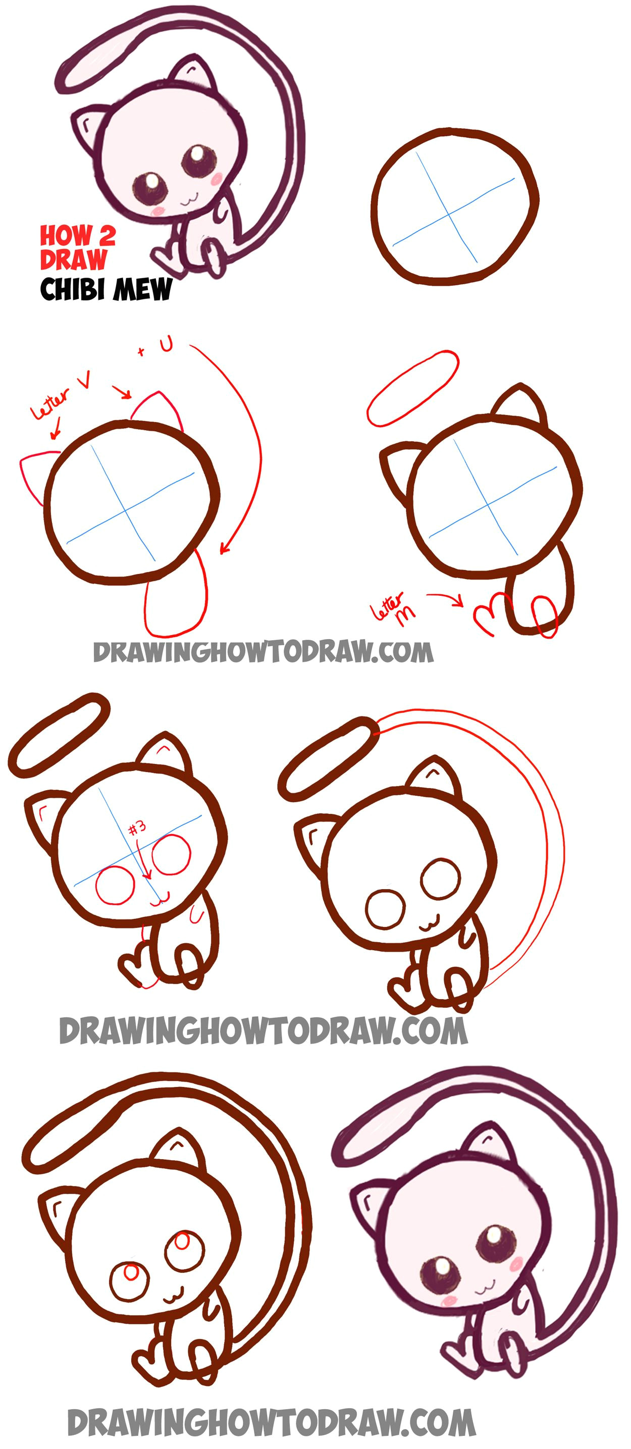 learn how to draw cute baby chibi mew from pokemon simle steps drawing lesson easy pokemon