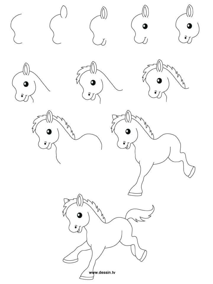 h easy drawings easy drawing designs easy cartoon drawings horse cartoon drawing