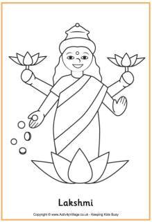 lakshmi colouring page diwali drawing diwali activities diwali cards rangoli colours diwali