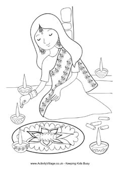 girl painting rangoli coloring page diwali drawing rangoli drawing diwali eyfs diwali for