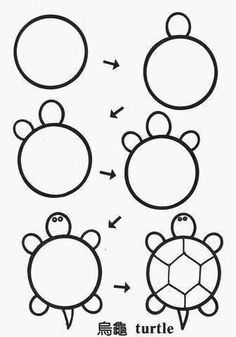 kaplumbaa a easy animals to draw how to draw kids how to draw things