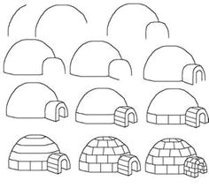 how to draw a cartoon igloo easy free step by step drawing tutorial for kids