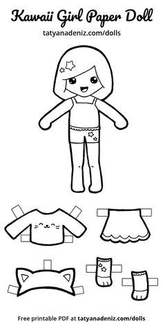 free printable kawaii paper dolls