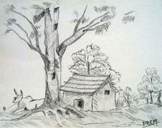 simple house landscape with trees landscape drawing easy landscape pencil drawings landscape sketch