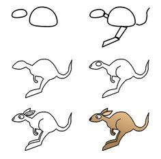 drawing a cartoon kangaroo