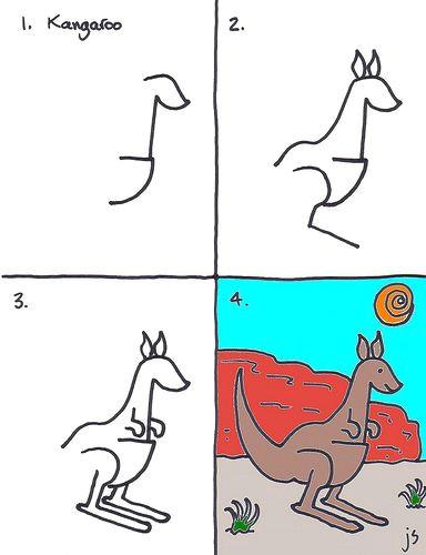 how to draw a kangaroo kids art club for this week kangaroo drawing easy
