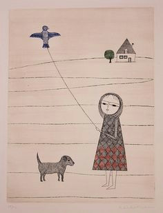 girl with kite by keiko minami from annex galleries fine prints a
