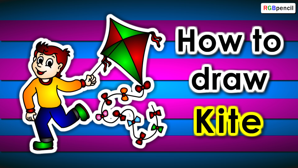 how to draw a kite for kids step by step is an easy animated drawing tutorial for kids beginners children to learn kite drawing easily