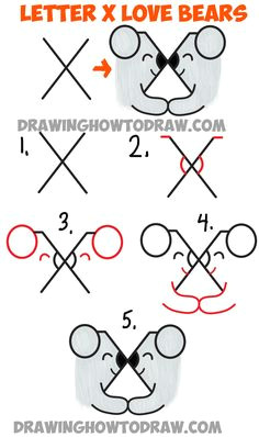 how to draw two bears in love from the letter x simple steps drawing tutorial