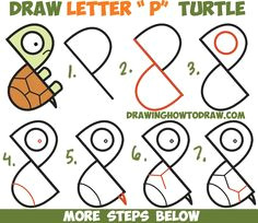 how to draw a cute cartoon turtle from letter p shapes easy step by step drawing tutorial for kids