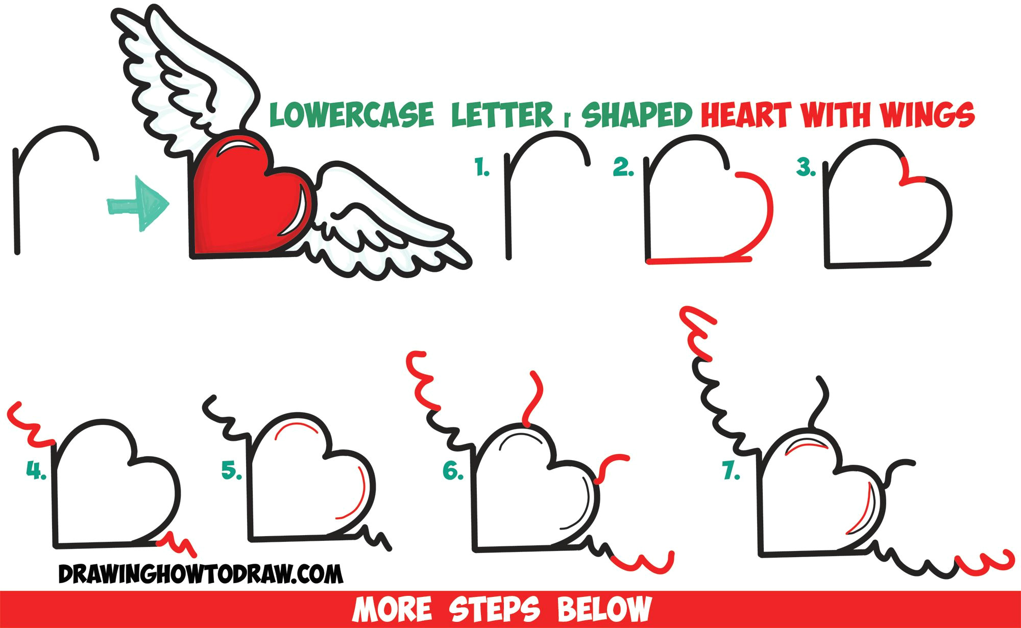 how to draw heart with wings from lowercase letter r shapes easy step by step