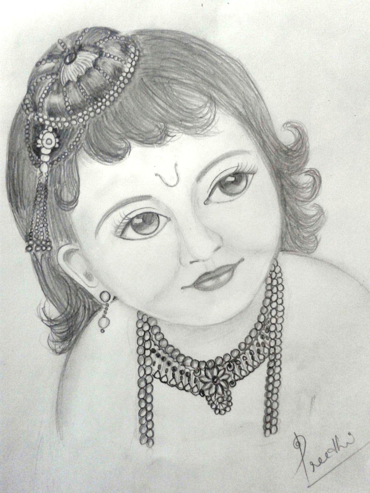 preethi venugopala a pencil sketch of little krishna