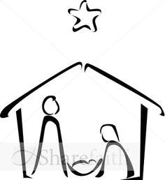 black and white nativity sketch