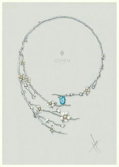 delicate branch design jewelry drawings sketches renderings