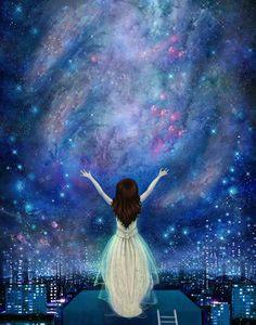 items similar to reach for the stars 11x14 empowerment inner strength night sky poster constellation feminist art teenage girl art lisa falzon on