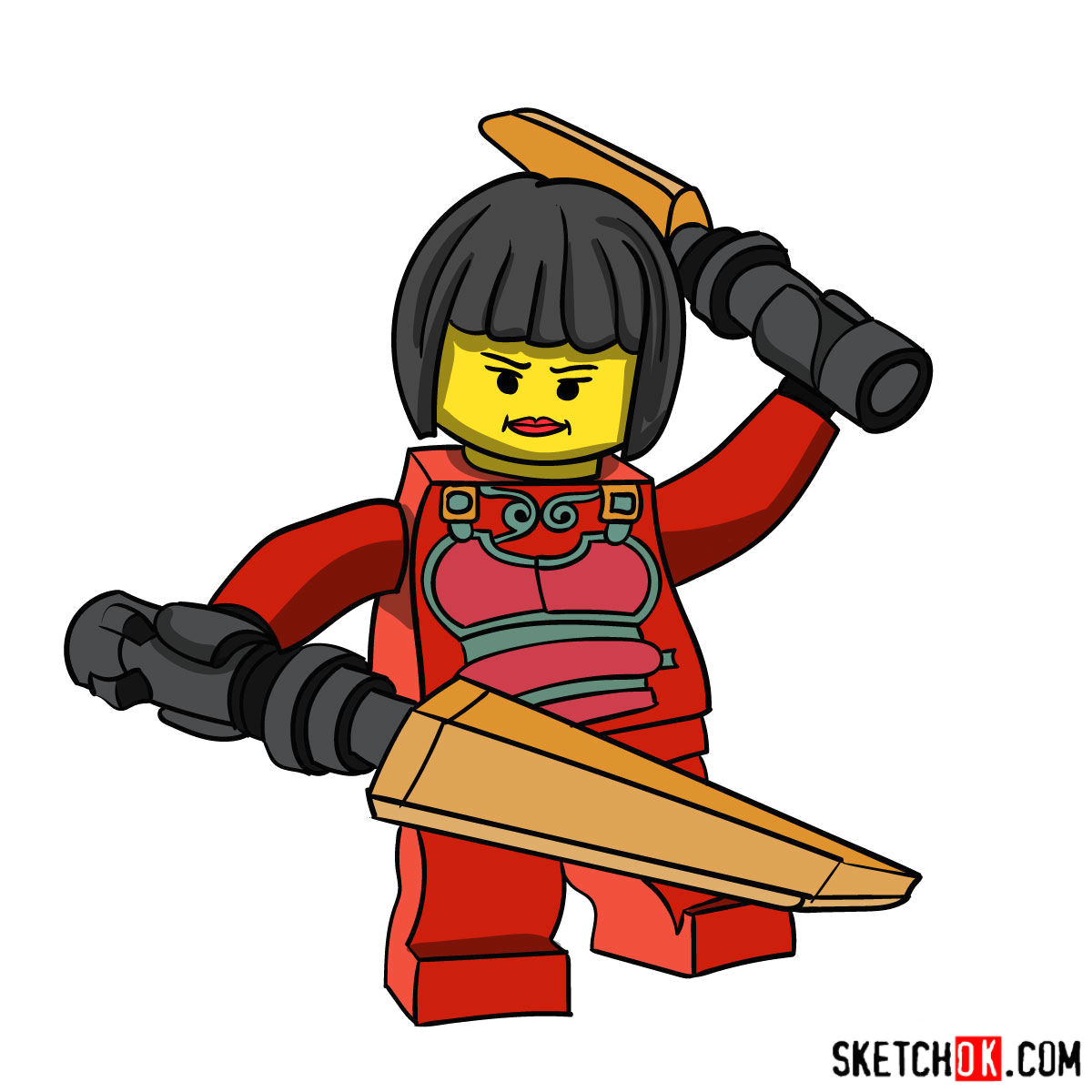 how to draw nya ninjago coloring