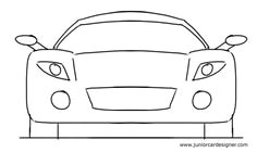car drawing tutorial for kids sports car front view