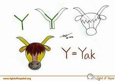 y yak cartoon drawings word drawings easy drawings learn to draw