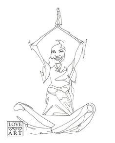yoga art print happy meditation sukhasana easy pose drawing