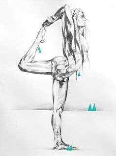 days of heaven strong yoga drawing in pencil of dancers pose by hannah adamaszek