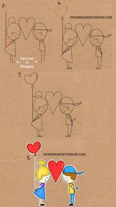 step by step drawing tutorial for drawing love word toon word drawings easy drawings