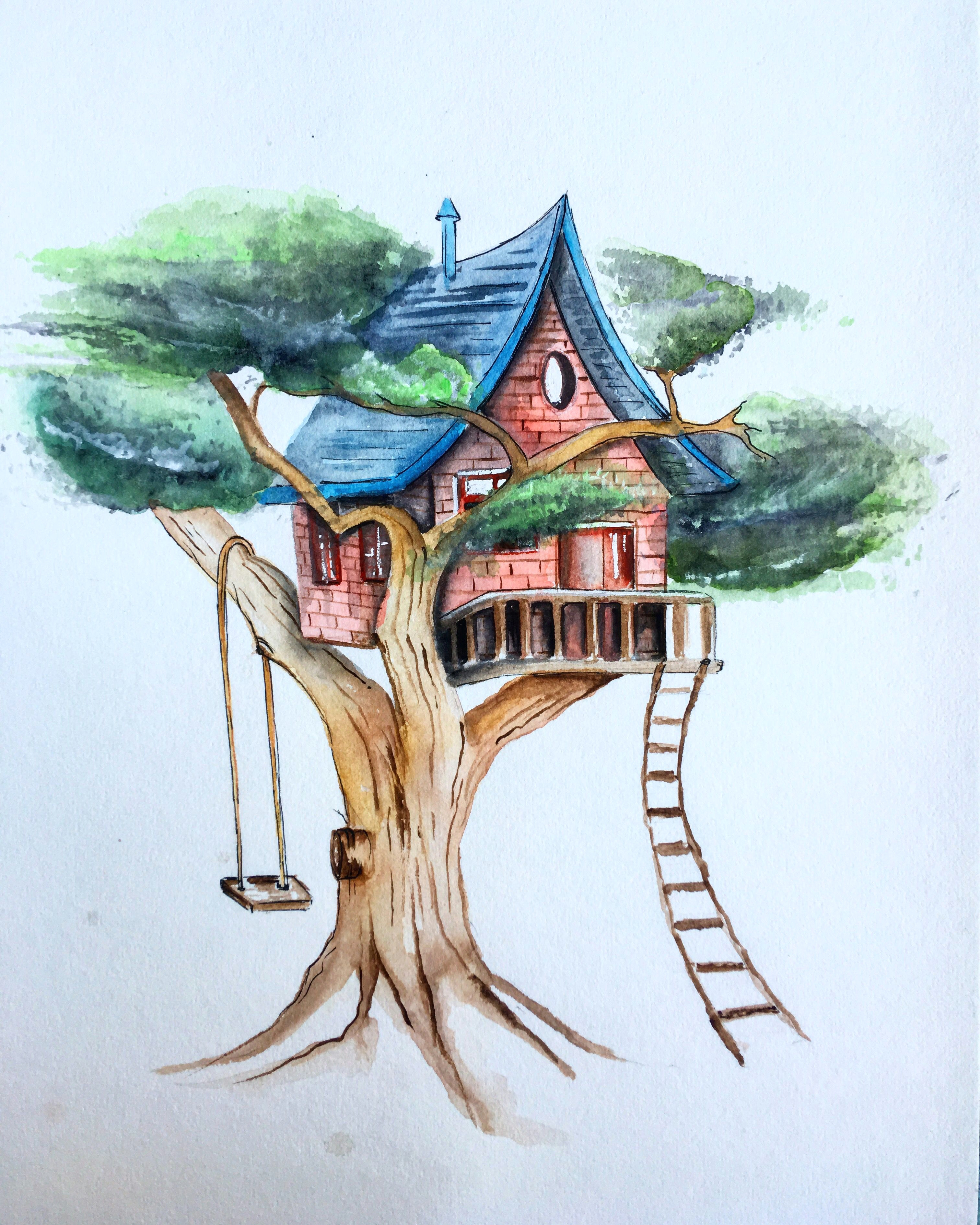 artwork treehouse watercolour painting drawing sketching