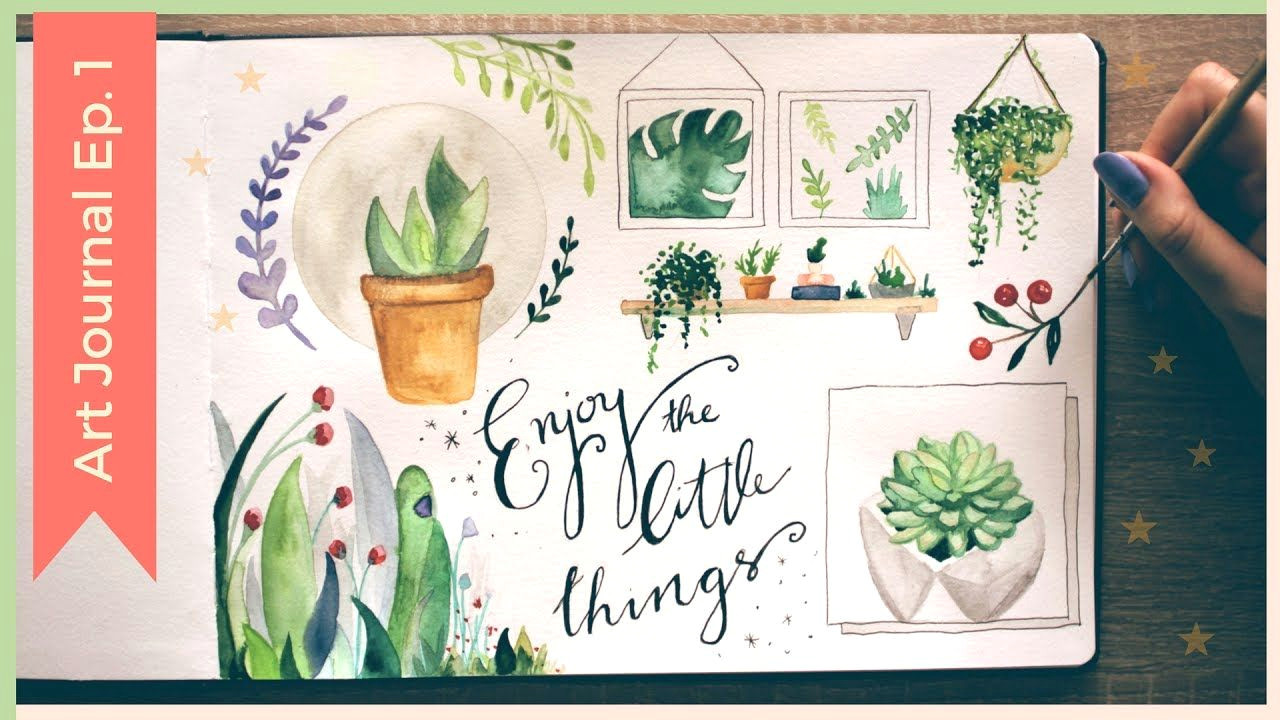 easy watercolor plants watercolor sketchbook painting ideas art journal thursday ep 1 youtube