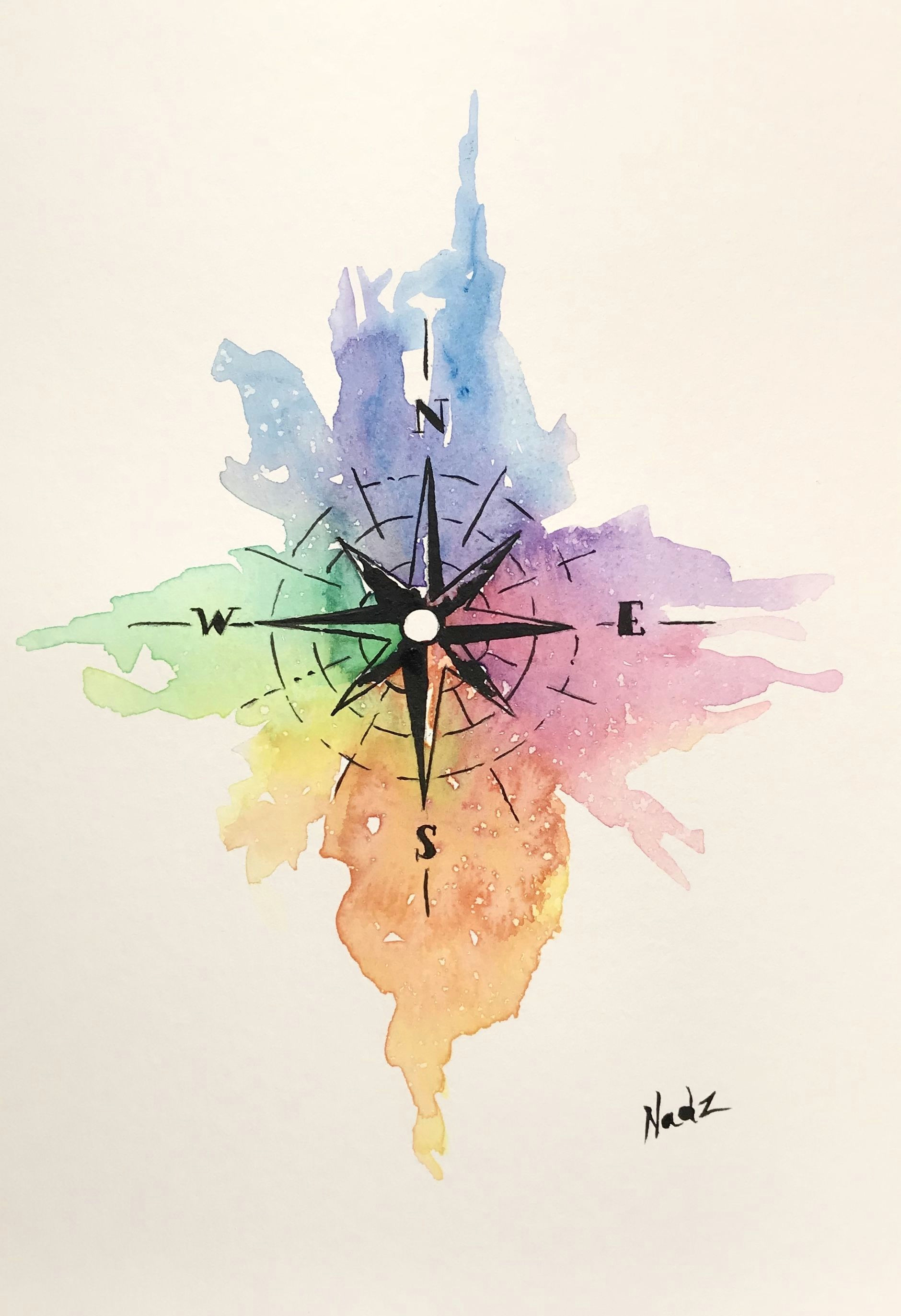 Easy Drawing Using Watercolor Watercolor Painting Etsy Compass Gift Idea Bible Art
