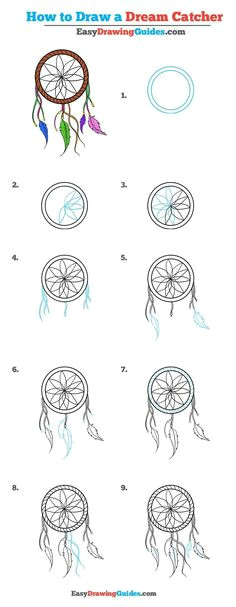 how to draw a dream catcher really easy drawing tutorial