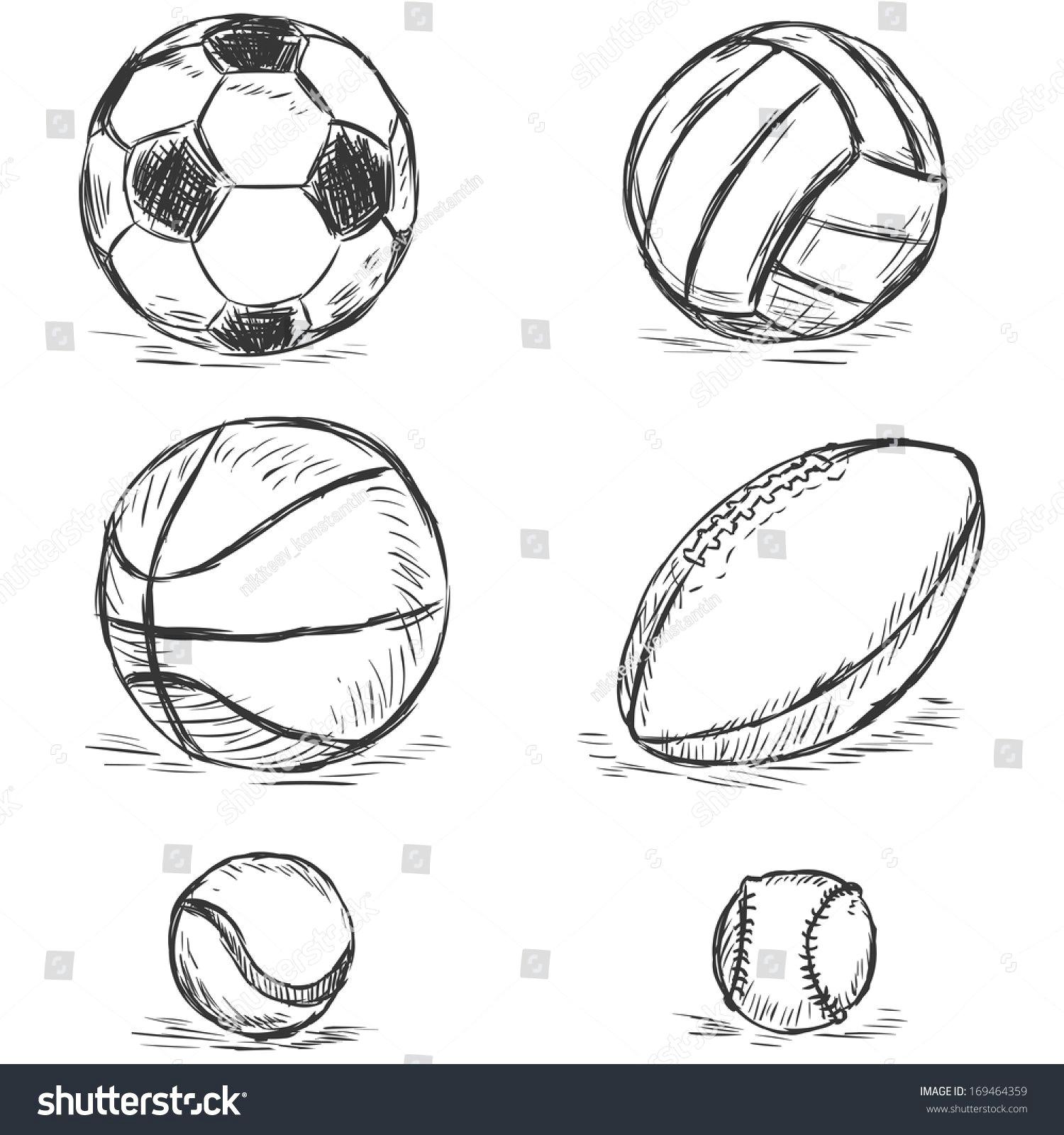 vector sketch illustration sport balls football volleyball basketball rugby tennis baseball