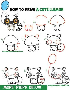 how to draw a cute cartoon lemur kawaii chibi with easy step by step drawing tutorial for kids beginners