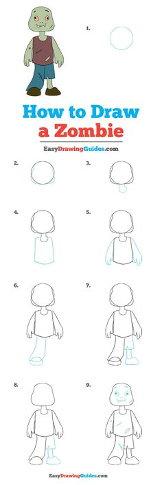 how to draw a zombie really easy drawing tutorial