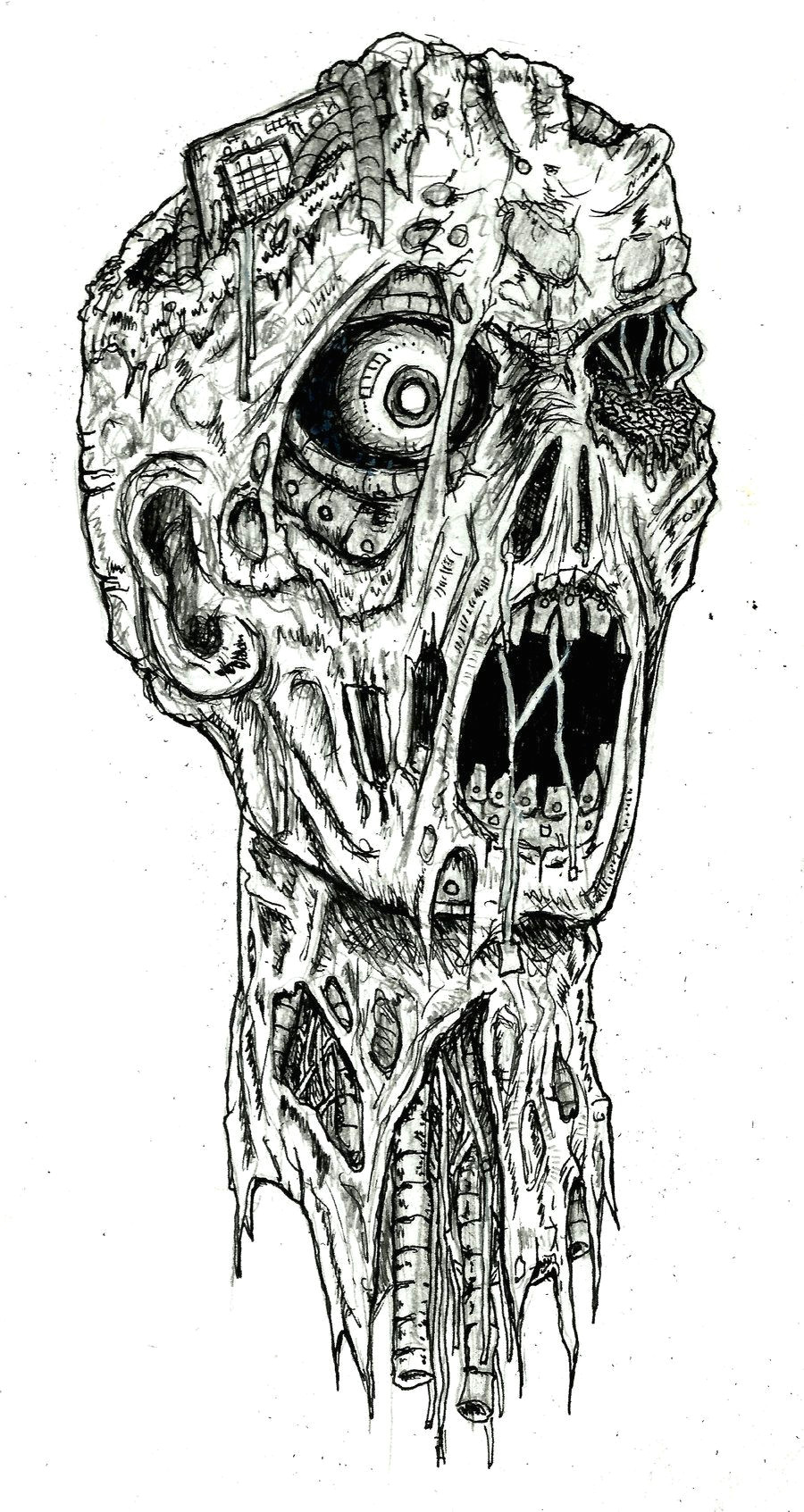 zombie drawings in pencil robot zombie by ayillustrations traditional art drawings macabre
