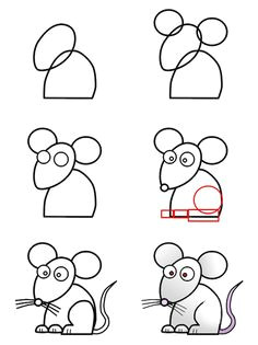 a cute cartoon mouse made from simple basic shape that anyone can learn how to draw