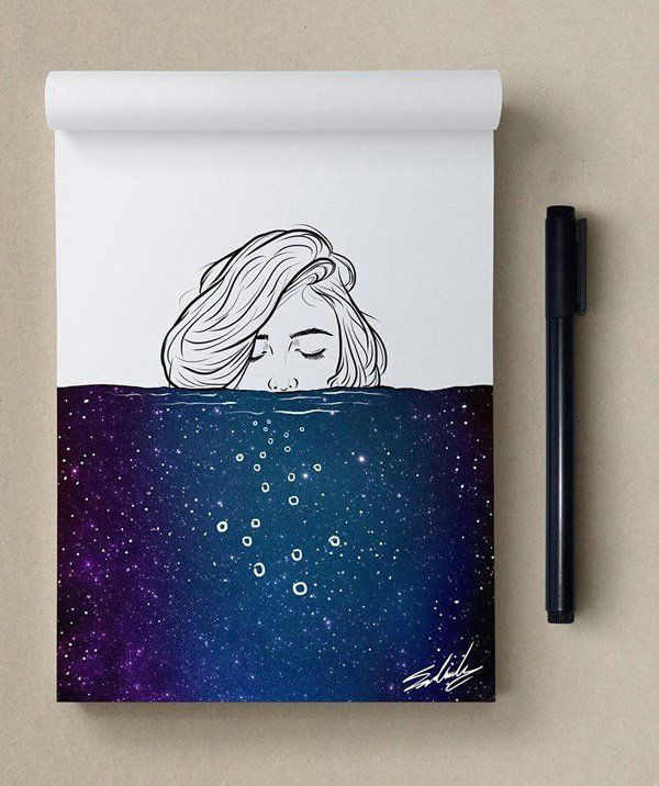 deep thoughts stars themed illustrations by muhammed salah