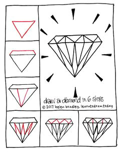 learn to draw a shiny diamond in six steps easy drawings doodle drawings diamond