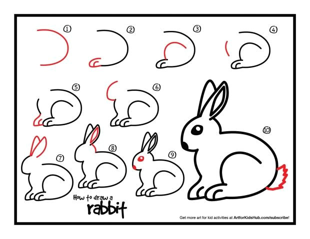super simple lesson on how to draw a rabbit for kids watch the short video and download the free printable