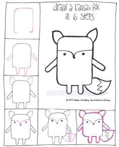 learn to draw a kawaii fox in 6 steps kawaii art kawaii