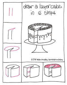 learn to draw a cake in 6 steps learn to draw https