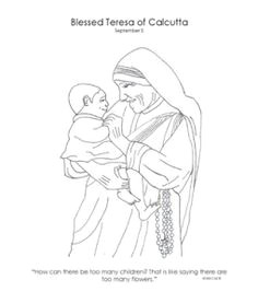 coloring page of mother teresa for catholic kids
