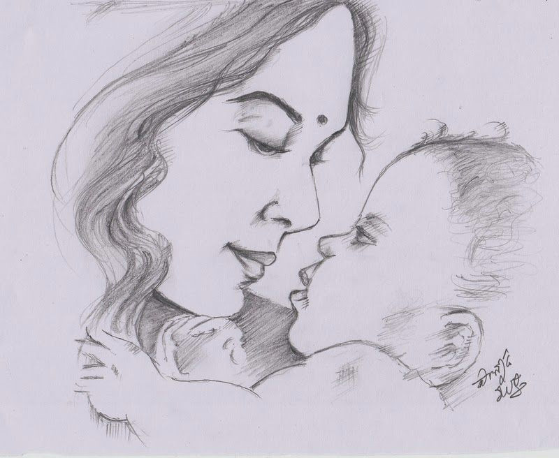my pencil drawing of indian mother