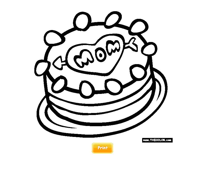 printable mother s day coloring pages at thecolor com a cake with mom written