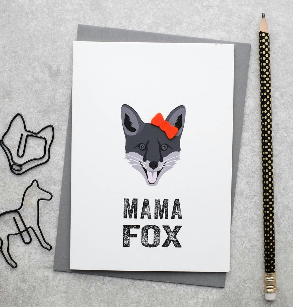mama fox mother s day card with felt bow
