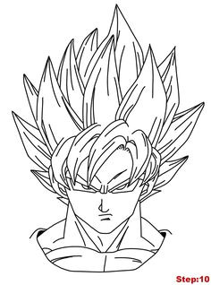 drawing goku super saiyan from dragonball z tutorial step 10 goku drawing goku super