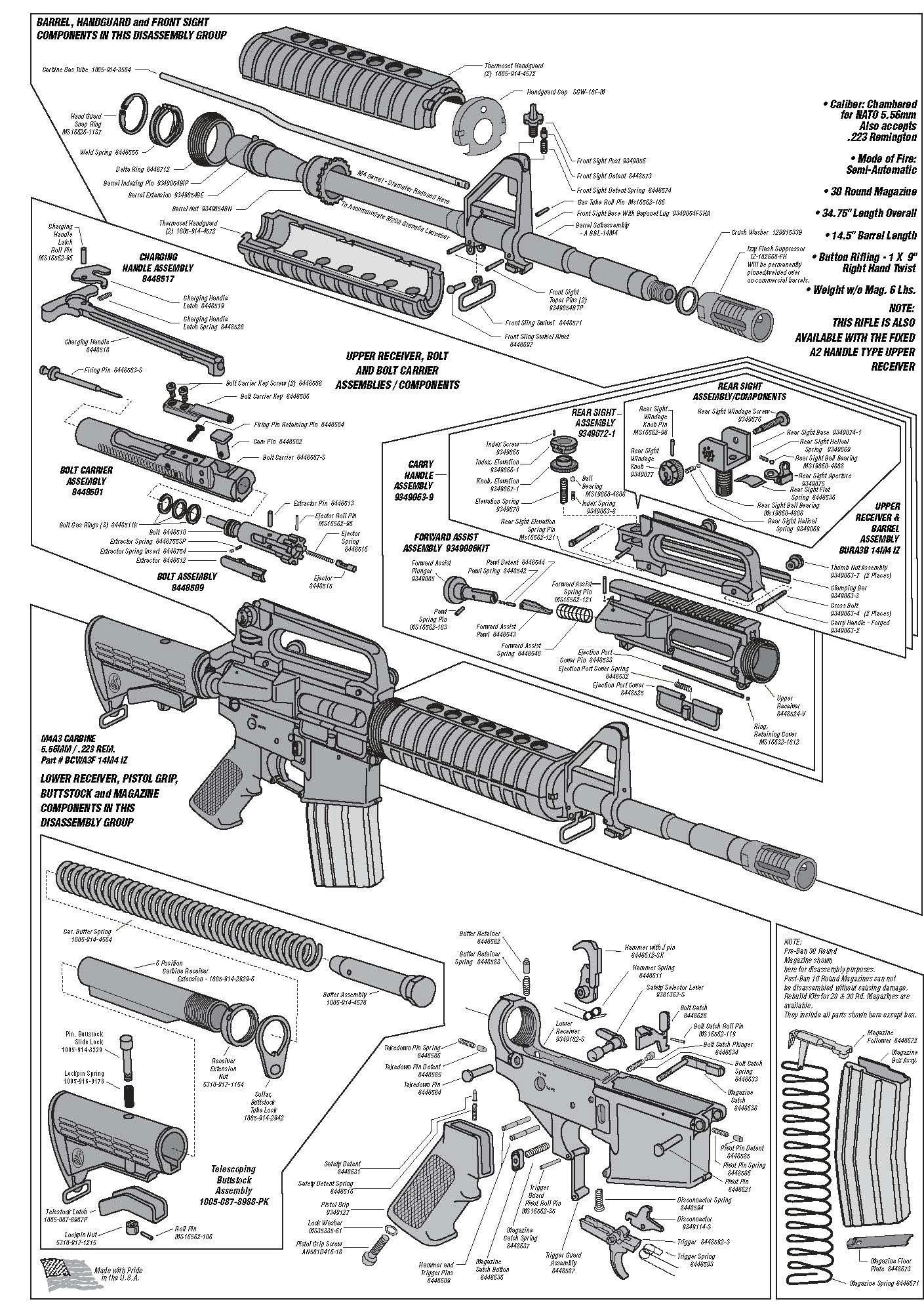 ar schematic handgun firearms tactical rifles revolvers shotguns m16 rifle