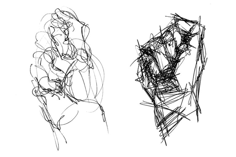 two approaches to gestural drawing the same fisted hand