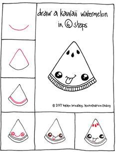 draw a kawaii watermelon slice kawaii drawings love drawings colorful drawings easy drawings